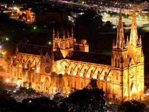 St Mary's Cathedral at Night, Sydney, Australia by David Wall