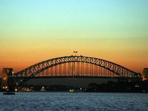 Sunset over Sydney Harbor Bridge, Australia by David Wall