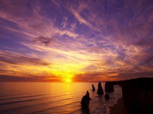 Sunset, Twelve Apostles, Port Campbell National Park, Great Ocean Road, Victoria, Australia by David Wall