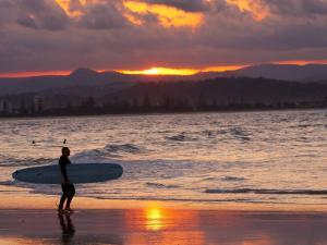 Surfer at Sunset, Gold Coast, Queensland, Australia by David Wall