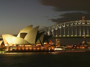 Sydney Opera House and Harbor Bridge at Night, Sydney, Australia by David Wall