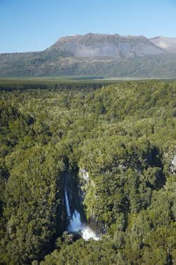 Tarawera Falls on Tarawera River, and Mount Tarawera Volcano, Rotorua, North Island, New Zealand by David Wall