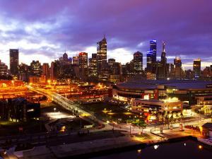 Telsta Dome and Melbourne CBD at Dawn, Victoria, Australia by David Wall