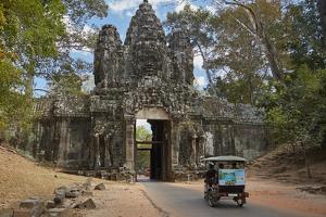 Tuk Tuk Going Through Victory Gate, Angkor Thom, Angkor World Heritage Site, Siem Reap, Cambodia by David Wall