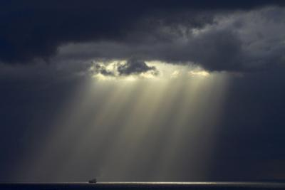 USA, Hawaii, Oahu, Ship and Rays of Sunlight Off Honolulu by David Wall