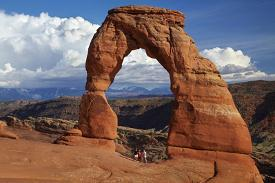 Utah Arches National Park Delicate Arch Iconic Landmark Of And Tourists By
