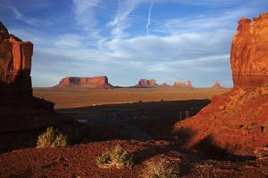 Utah. Arizona Border, Navajo Nation, Late Light on Monument Valley by David Wall