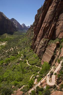 Utah, Zion National Park, Hikers Climbing Up West Rim Trail and Angels Landing by David Wall