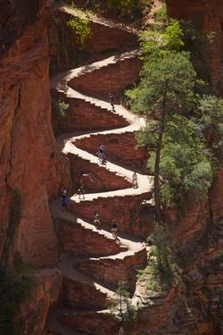 Utah, Zion National Park, Hikers on Walters Wiggles Zigzag by David Wall