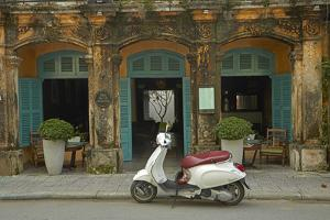 Vespa scooter and The Hill Station Deli and Boutique, Hoi An, Vietnam by David Wall