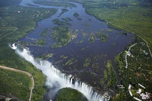 Victoria Falls and Zambezi River, Zimbabwe/Zambia border by David Wall