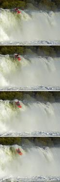 Whitewater Kayaker Going over Maruia Falls, Tasman, New Zealand by David Wall