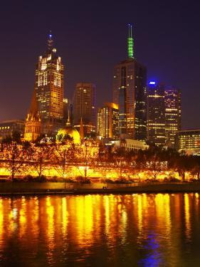 Yarra River, Flinders Street Station and CBD, Melbourne, Victoria, Australia by David Wall