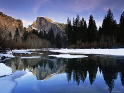 Half Dome Above River and Winter Snow, Yosemite National Park, California, USA