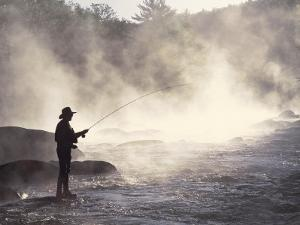 Man Fly-Fishing in Contoocook River, Henniker, NH by David White