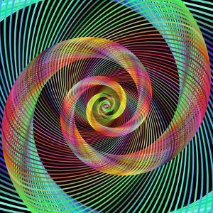 Multicolored Spiral Fractal Design Background by David Zydd