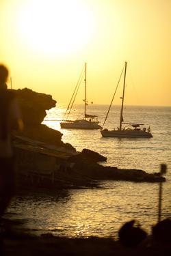 Sail Boats Anchored at Sunset Near Cala Soana, Formentera, Spain by Day's Edge Productions