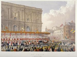Royal Procession Passing the East End of St Paul's Cathedral, City of London, 1863 by Day & Son