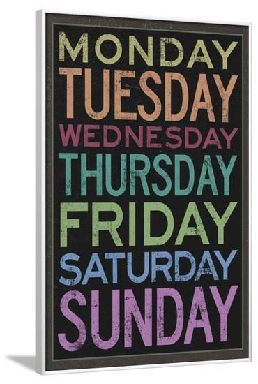 Days of the Week Colorful Text--Framed Poster