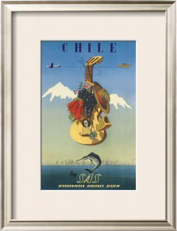 Chile by SAS, Scandinavian Airline System, c.1951 by De Ambrogio