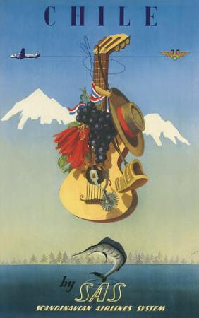 Scandinavian Airlines Chile, Gaucho Guitar, c.1951 by De Ambrogio