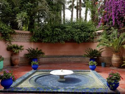 Fountain in the Majorelle Garden, Restored by the Couturier Yves Saint-Laurent, Marrakesh, Morocco