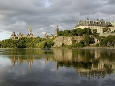 Overview of Parliament Hill from the Banks of the Ottawa River, Ottawa, Ontario Province, Canada