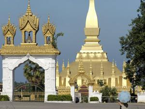 That Luang Stupa, Largest in Laos, Built 1566 by King Setthathirat, Vientiane, Laos, Southeast Asia by De Mann Jean-Pierre