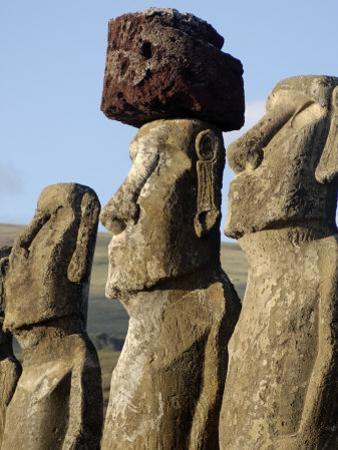 Three of the Fifteen Huge Moai Statues, Ahu Tongariki, Easter Island, Chile