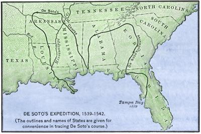 De Soto Expedition's Route across Southeast North America, 1539-1542