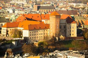 Aerial View of Royal Wawel Castle in Krakow, Poland. by De Visu