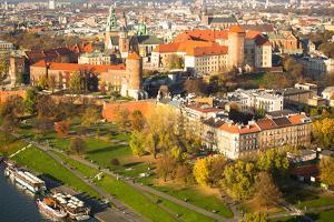 Aerial View of Royal Wawel Castle with Park and Vistula River in Krakow, Poland. by De Visu