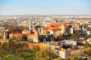 Aerial View of Royal Wawel Castle with Park and Vistula River in Krakow, Poland by De Visu