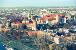 Aerial View of Royal Wawel Castle with Park in Krakow, Poland (Cross Process Style) by De Visu