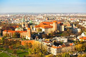 Aerial View of Royal Wawel Castle with Park in Krakow, Poland. by De Visu