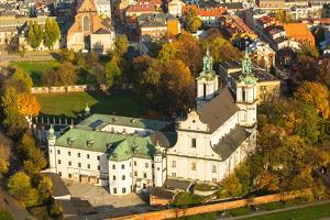 Aerial View of the Church of St. Stanislaus Bishop in Krakow, Poland. by De Visu