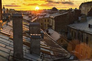 Amazing Sunset on the Roofs of St.Petersburg in Russia. by De Visu