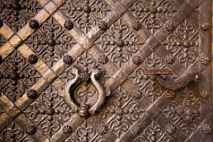 Old Door with Ornament in Royal Wawel Castle, Kracow, Poland. by De Visu