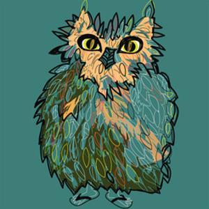 Owl in Flip-Flops, Cartoon Drawing, Cute Illustration for Children, Vector Illustration for T-Shirt by De Visu