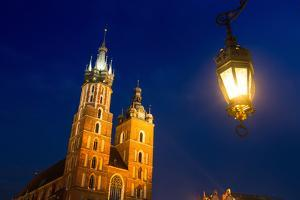 St.Mary's Church on Krakow Market Square in Night Time. by De Visu