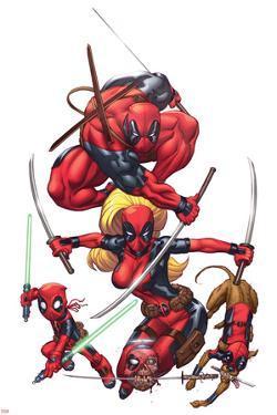 Deadpool Cover Art Featuring: Deadpool, Lady Deadpool, Kidpool, Headpool, Dogpool