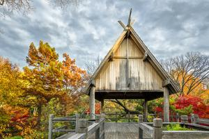 Pavillion Deck Surrounded by Autumn Foliage by Dean Fikar
