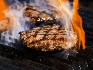 Flame Grilled Burgers on the Grill by Dean Sanderson