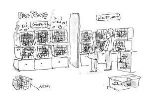 A smoking pets and a non-smoking pets section in a pet shop. - New Yorker Cartoon by Dean Vietor