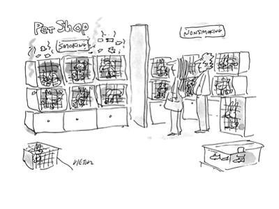 A smoking pets and a non-smoking pets section in a pet shop. - New Yorker Cartoon