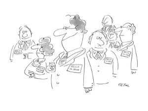 People mingling at cocktail party, all wearing name tags. One man's name t? - New Yorker Cartoon by Dean Vietor