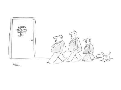 Picture of three men in a line and dog walking behind them as they approac? - New Yorker Cartoon