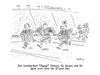 """Star running-back """"Zigzag"""" Johnson, his lawyer, and his agent score from t… - New Yorker Cartoon"""