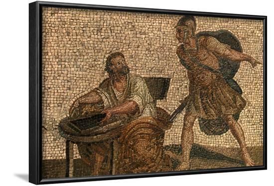 Death of Archimedes Mosaic--Framed Art Print