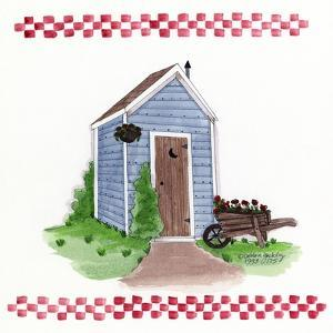 Outhouse with Wheelbarrow by Debbie McMaster